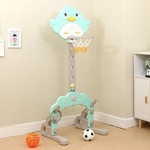 Find Discount RXY-CHILD Children's Pink Cartoon Bird Shape Foldable Lifting Basketball Hoop Indoor F...