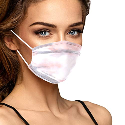 Cloth Face Mask Washable with Filter Pocket - Cute Fashionable Women Designs are Washable, Breathable and Reusable - Soft Cotton Blend for Comfortable Fit USA Made (Limited Edition Smoke Pink Tie Dye)