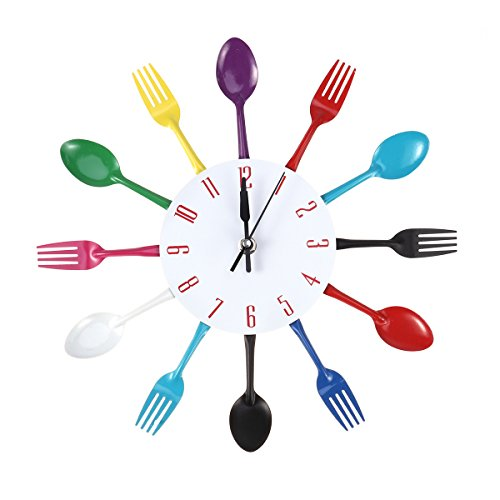 winomo, Orologio da parete, per la cucina, con posate, (cucchiai e forchette), lucido, per la decorazione della casa (Multicolore)