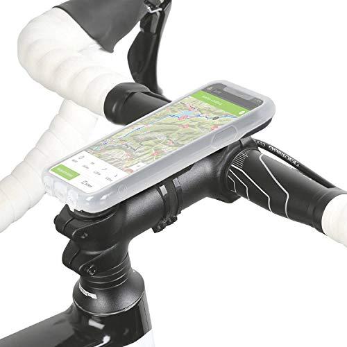 Wicked Chili QuickMOUNT Fahrrad Halterung kompatibel mit iPhone XR, Lenker/Vorbau Befestigung mit Regenponcho und Qi-Fähige Schutzhülle für MTB Rennrad Motorrad Navigation (6,1 Zoll) schwarz