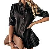 Anaike Vestido de camisa de manga larga para mujer, con botones, color sólido, dobladillo plisado, mini camisa, Negro, M