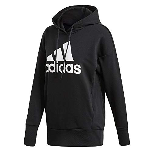 adidas Damen Badge of Sport Long Overhead Hoodie, Black/White, L