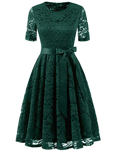DRESSTELLS Elegant Damen Hochzeit Cocktail Spitzenkleid Rundhalsausschnitt Kurzarm Abendkleid DarkGreen XL