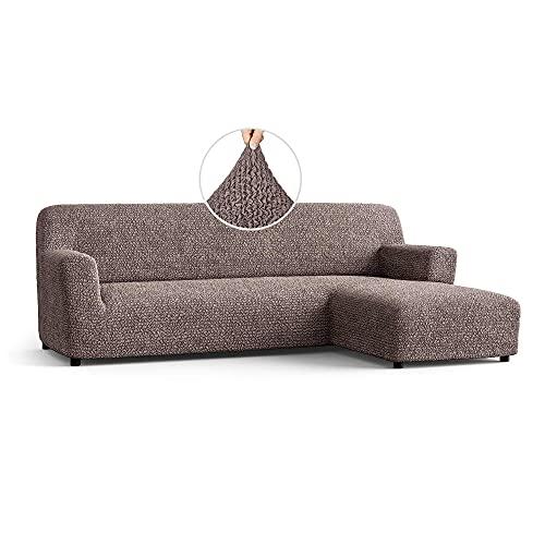 Paulato by GA.I.CO, 1-teiliger elastischer und pflegeleichter Sofabezug für Ecksofa mit Ottomane rechts, hochwertige italienische Qualität, Mikrofaser, mittelbraun