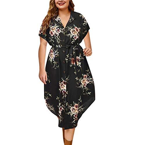Vestido de mujer de talla grande, estampado floral, manga corta, vestido largo, elegante y retro, con cintura alta, para verano, casual, azul, negro, rojo, lila Negro L