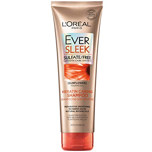 L'Oreal Paris EverSleek Sulfate Free Keratin Caring Shampoo, with Sunflower Oil, 8.5 Fl; Oz