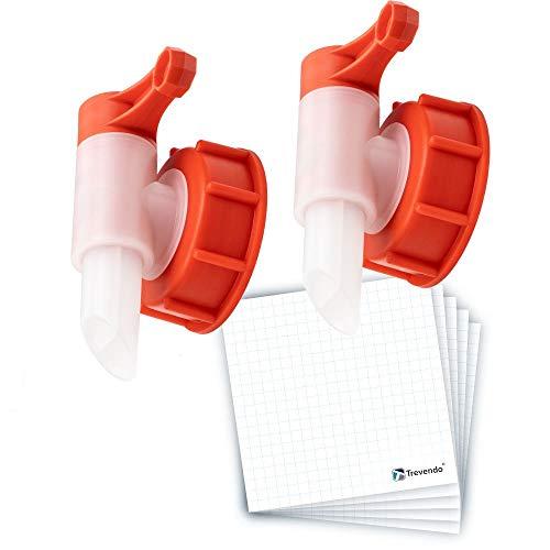 Trevendo® Auslaufhahn/Ausgießer für Kunstoffkanister 2er Pack inkl. 5x Beschrifftungsetiketten (2x DIN 61)