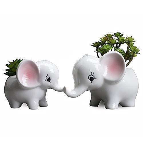 GEMORE pots en céramique, idées de jardinage en plein air simples pots de fleurs charnues, des pots en céramique ornements de bureau d'éléphant en pot (y compris un éléphant et un petit éléphant)
