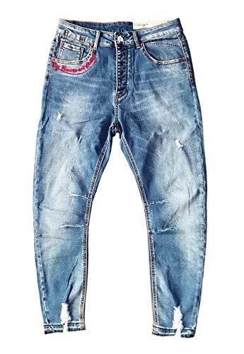 Wiya Damen Stretch Jeans Hose Reißverschluss Freizeithose DY567 (M)
