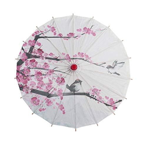 ErYao Chinese Umbrella Parasol Japanese Asian Silk Umbrella Chinese Silk Cloth Umbrella Classical Style Umbrella Oil Paper Umbrella (C)