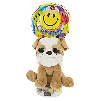 Get Well Soon Balloon Gift with Plush Dog   Stuffed Animal Bulldog Colorful Balloon Assorted Candy in Reusable Acrylic Container   Cheer Up a Friend or Loved One with this Gift