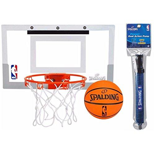 Spalding NBA Slam Jam Over-The-Door Mini Basketball Hoop Set and 12' Dual Action Pump