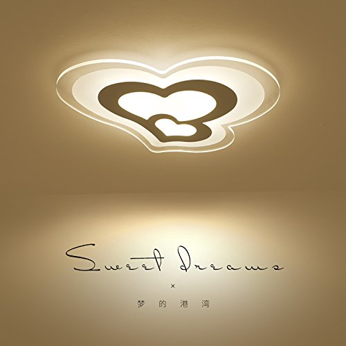 WoOnew Heart-Shaped CHILDREN'S Lampe Salon européen moderne et simple Salon Salle à manger Chambre à coucher lampes de soins oculaires, 43 * 33cm