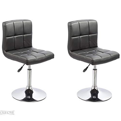 2er Set Esszimmerstuhl Schwarz aus Kunstleder Küchenstuhl mit Lehne höhenverstellbar Drehbar Stuhl Duhome 0631