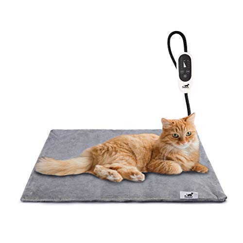 Toozey Pet Heating Pad, Electric Heating Pad for Dogs and Cats Indoor Waterproof Adjustable Warming Mat with Chew Resistant Steel Cord(18 x 16)