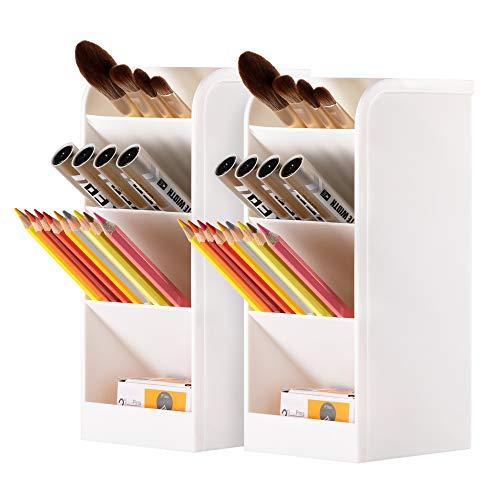2 Pack Desk Organizer, Wellerly Pen/Pencil Markers Holder Storage Box Multi-Functional Desk Organizer for Office School Home Supply - White 2 Pack