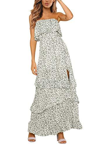 Yidarton Women Summer Blue and White Porcelain Strapless Boho Maxi Long Dress (Medium, B-Green)