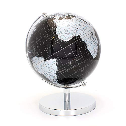 LEONARDO Weltkugel, 27 cm, Metall, Silber/schwarz