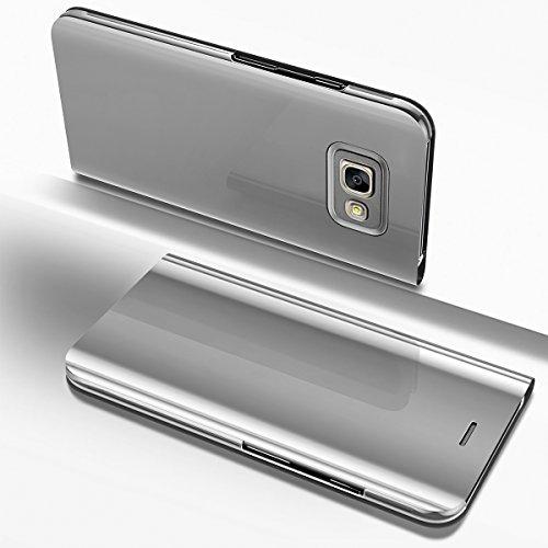 Ysimee Coque Samsung Galaxy A5 2017, Étui Folio à Rabat Clear View Case Couleur Unie Translucide Miroir Housse en PC Fonction Support Ultra Mince Flip Portefeuille Coque pour Galaxy A5 2017, Argent
