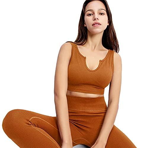 qqff Levantamiento Glúteos Yoga Pantalones Running,Ropa Yoga,Ropa Deportiva,Traje pantalón Sujetador marrón hogar,Leggings Sexis Anticelulíticos