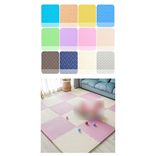 LXZFJW Baldosas de espuma entrelazadas para suelo de espuma EVA entrelazada para niños y bebés, color beige + rosa 60 × 60 × 2,5 cm, 12 unidades
