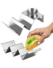 2 Piezas Soporte para Tacos, Bandeja para Tacos, Taco Stand, Soporte de Comida Mexicana, 2 Especificaciones, con Asa, con Ensaladera, para Colocar Tortillas y Bocadillos Fritos