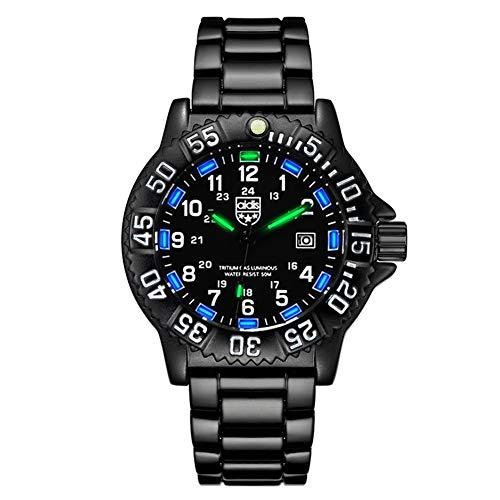 Wan&ya Mens Relojes de Cuarzo Resistente al Agua Luminosa cronómetro brújula Deporte del Acero Inoxidable Reloj analógico Hombres de Negocios del Deporte del cronógrafo Militar Reloj Digital,Azul