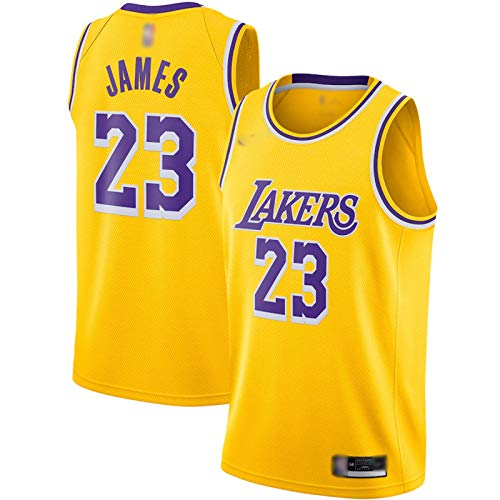 Enid Camiseta de baloncesto clásica de Los Angeles Lakers sin mangas, bordado de baloncesto LeBron James Uniforme, poliéster transpirable #23 Gold Sweatshirt