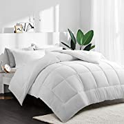 HEPERON Cal King Quilted Goose Down Alternative Comforter-Hypoallergenic-All Season Luxury Duvet Insert with Corner Tabs-Duvet Insert or Stand-Alone Comforter,Box Stitched, Protects Against Dust Mites and Allergens (WHITE, CAL KING)