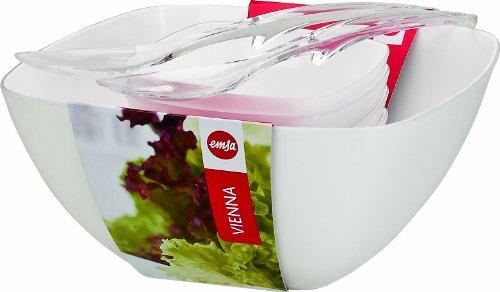 Emsa 512766 Salatschalen (Set mit Salatbesteck, 4.6 Liter und 0.6 Liter, Vienna) weiß