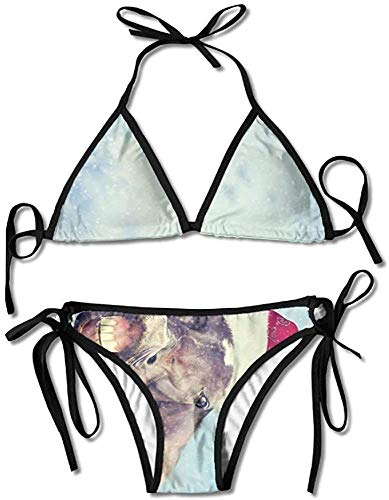 Un Caballo con un Sombrero de Navidad Bikini Traje de baño de Verano para Mujer Bikini con Parte Superior Triangular Traje de baño Conjunto Sexy de 2 Piezas