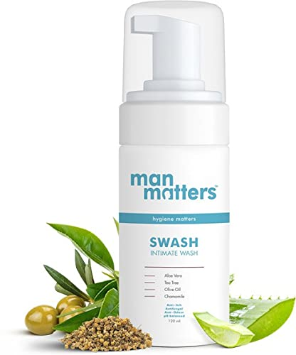 Man Matters Intimate Wash for Men- Anti Bacterial, Anti Itch, Anti Odour | Better Private Parts Hygiene| pH Balanced Intimate Hygiene Wash with Aloe Vera, Tea Tree |120 ml