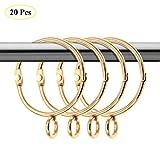 Coperfekt 20er Pack goldene Vorhangringe mit Ösen offene/metallische dekorative Drapierungsschlaufen aus Metall für Fenster, für bis zu 1,4-Zoll-Stangen (1,5 Zoll)