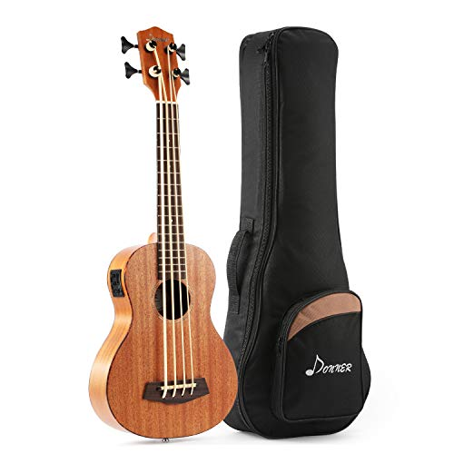 Donner - Ukulele Bass Acústico Eléctrico DUB-1 de Caoba 18 Trastes de Cuatro Cuerdas para Principiantes o Profesionales con Ecualizador 76cm 30 Pulgadas