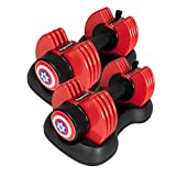 Sogawave Adjustable Dumbbells Set of 2, 5-25Ibs Adjustable Weight Dial Dumbbells for Man and Woman with Tray Suitable for Full Body Workout Fitness