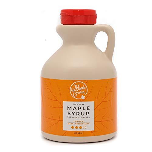 MapleFarm – Ahornsiroop – Pure Canadian maple syrup DARK – 0,5 ml – Grade A – Canadian maple syrup – pancake syrup…