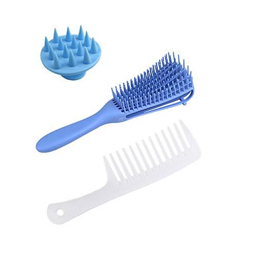 H.eternal(TM) Juego de cepillos para desenredar y masajear el cuero cabelludo del cabello, 4 colores para elegir