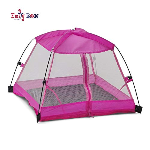 Emily Rose 14 Inch Doll Accessories | Amazing Pink Dining Canopy Doll Camping Tent, Includes Matching Carry Case | Fits 14' American Girl Wellie Wishers Dolls
