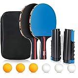 Tencoz Raquette de Tennis de Table, Set de Ping Pong Portable - 2 Raquettes + Rétractable Filet de Table Tennis + 6 Balles pour Intérieur Extérieur
