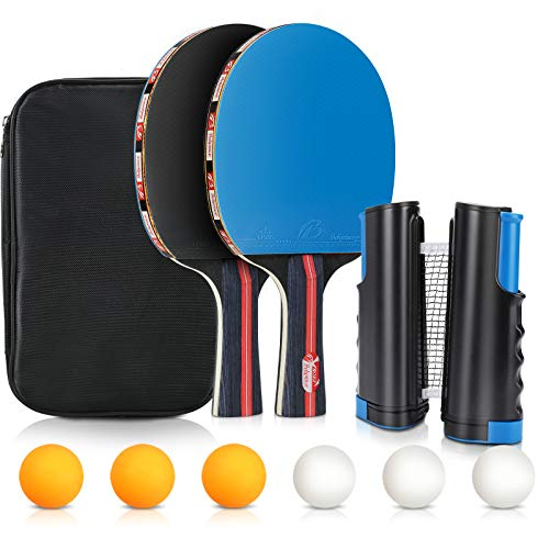 Juego de Tenis de Mesa, Tencoz Palas de Ping Pong , Raquetas de Tenis de Mesa con 2 Profesional, 6 Pelotas de Ping Pong y Red de Ping Pong, Ideal para Interiores y Exteriores