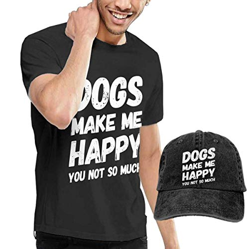sunminey Homme T- T-Shirt Polos et Chemises Dogs Make Me-HappyYou So Much Washed Baseball-Cap + T-Shirt Combo Set