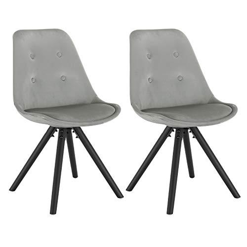 WOLTU® BH196hgr-2 2 x Esszimmerstühle 2er Set Esszimmerstuhl, Sitzfläche aus Samt, Design Stuhl, Küchenstuhl, Holzgestell, Hellgrau