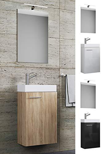 VCM Waschplatz Waschbecken Schrank + Spiegel WC Gäste Toilette Badmöbel klein schmal Slito Spiegel Weiß