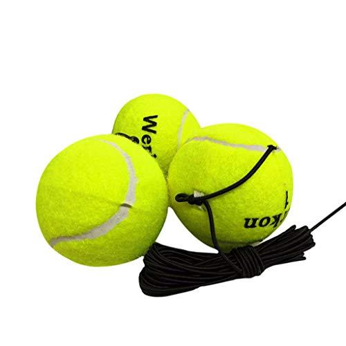 DEtrade 3 Stück Training Tennisball Drill Übung Belastbarkeit Tennisbälle Trainer mit Elastischer Schnur (Green)