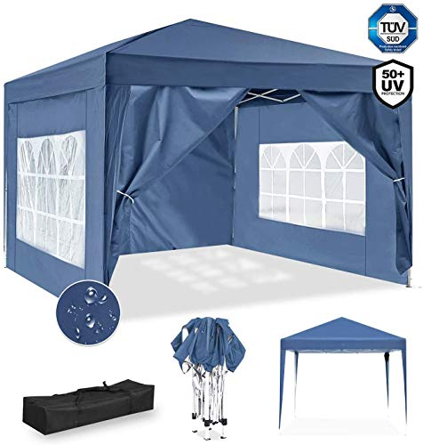 ISE 3x3m Garten Faltpavillon Pavillon inkl.Tragtasche,Gartenzelt,UV-Schutz 50+ mit 4 seitenteilen für Garten,Party,Hochzeit (Blau)