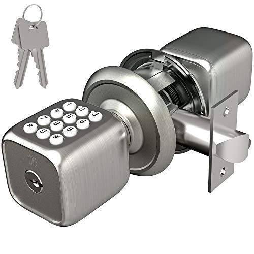 TURBOLOCK TL-111 Digital Door Lock with Keypad, Door Knob-Style for Keyless Entry | Digital Security w/Passcode Disguise, Backup Keys & Emergency Power Port (Brush Nickel)