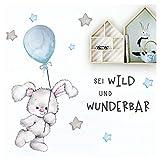 Little Deco Aufkleber Spruch sei wild & Hase I Wandbild S - 64 x 43 cm (BxH) I Luftballon Wandbilder Wandtattoo Kinderzimmer Junge Tiere Deko Babyzimmer Kinder DL328