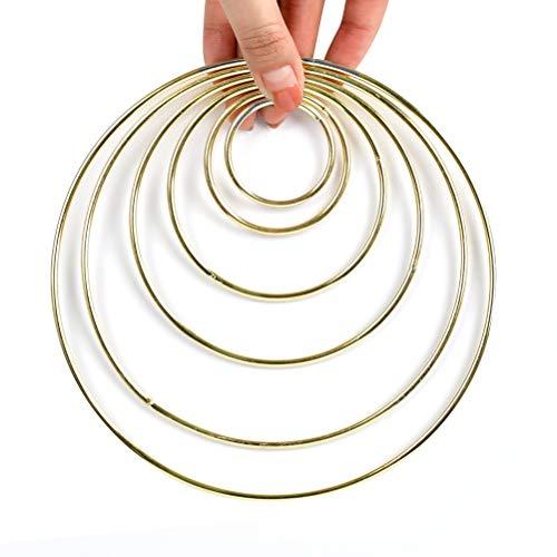 WOWOSS 12 Piezas Aros de Metal para Atrapasueños, Anillos de Metal 38/50/75/100/130/150 mm para la Fabricación de Artesanías, Decoración del Hogar (Dorado)