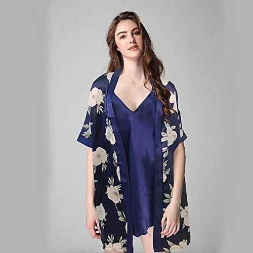 Sexy Nachthemd Für Damen,2 Pcs Satin Nachtwäsche Rayon Blau Print Casual Nachthemd Kimono Nachthemden Casual Camisole Babydoll Bademantel Für In Flitterwochen Home Kleidung, XL