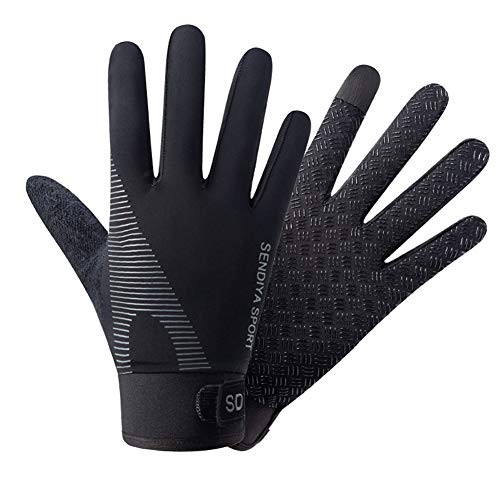 Workout Exercise Gloves, Touch Screen Running Gloves, Full Finger Gloves for Men Women Texting, Cycling, Driving in Summer - Thin, Lightweight (Black, M)